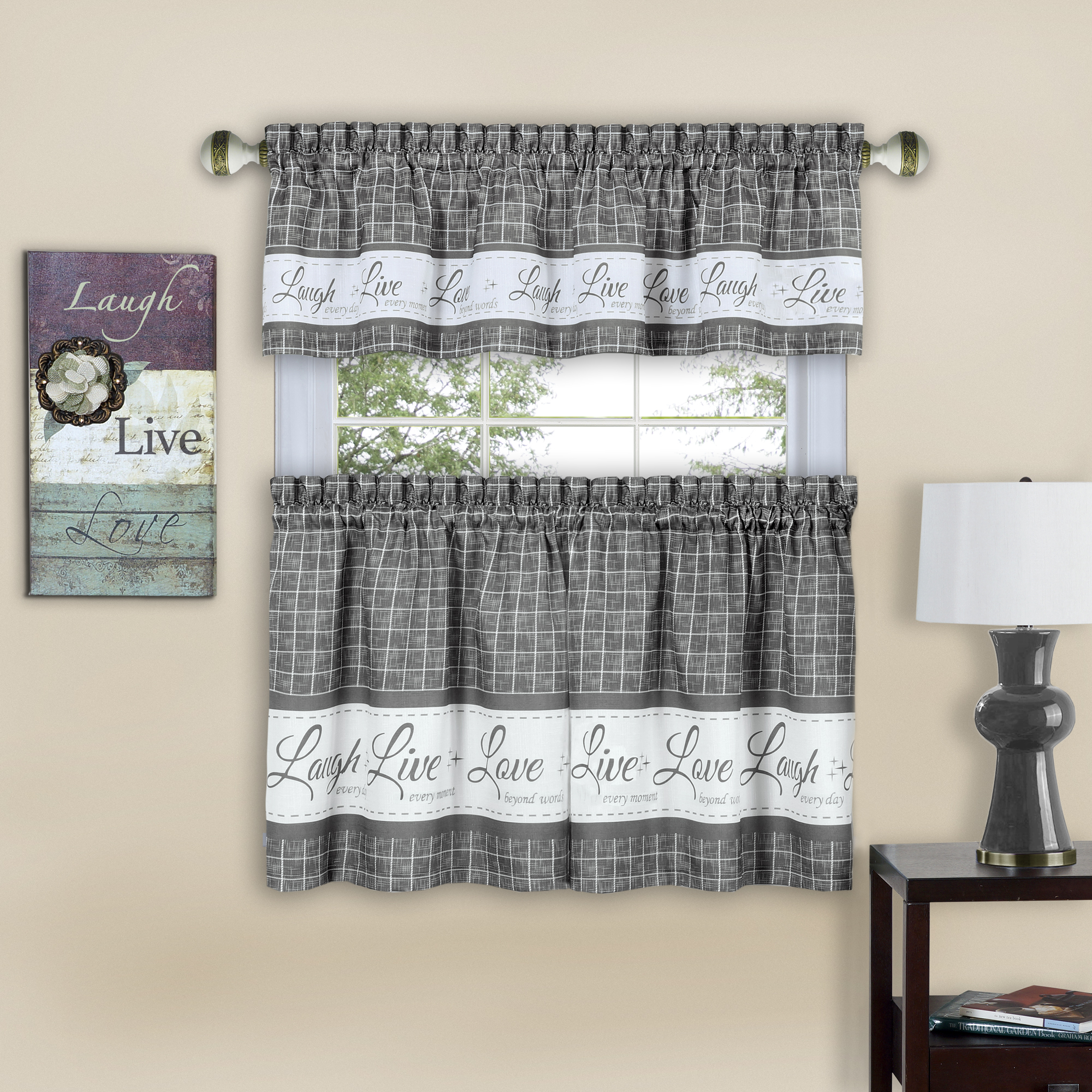 Gingham Check Live~Laugh~Love Complete 3 Pc. Kitchen Curtain Tier & Valance Set - Gray, 24 in. Long
