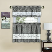 Gingham Check Live~Laugh~Love Complete 3 Pc. Kitchen Curtain Tier & Valance Set - Gray, 36 in. Long