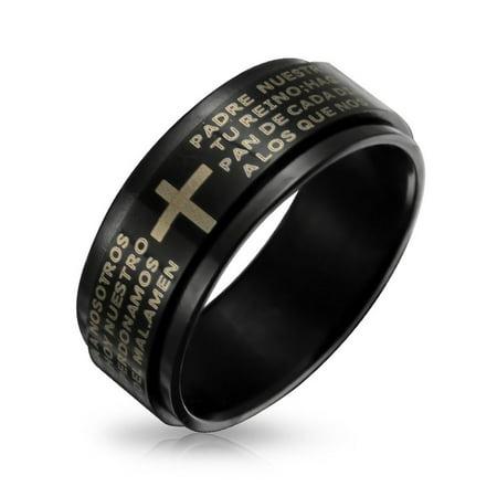 Pray Rosary Ring (Mens Religious Padre Nuestro Lords Pray Cross Black Spinner Band Ring For Men For Women Stainless Steel)