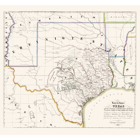Old State Map - Texas - Association for German Immigrants 1851 - 23 x 24