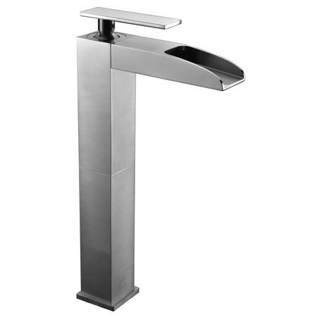 - ALFI Brand AB1597-BN Brushed Nickel Single Hole Tall Waterfall Bathroom Faucet