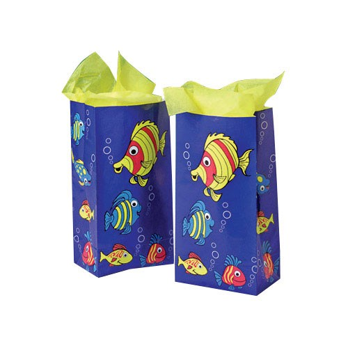 Lot of 12 Tropical Fish Paper Party Favor Treat Bags Luau
