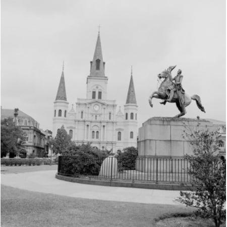 Jackson Square Statue - USA Louisiana New Orleans Jackson Square Statue of Andrew Jackson near St James Cathedral Canvas Art -  (18 x 24)
