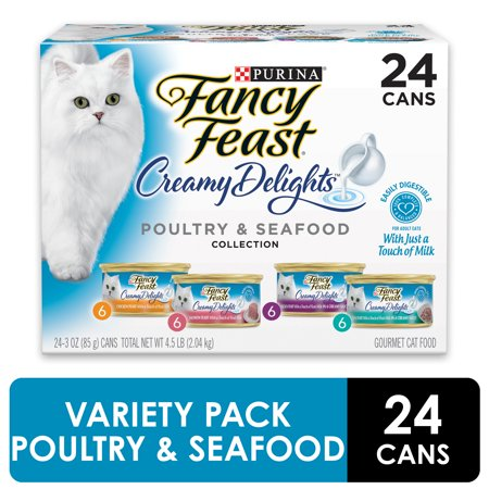 (24 Pack) Fancy Feast Creamy Delights Adult Wet Cat Food, Variety Pack, 3 oz. (Best Wet Cat Food For Teeth)