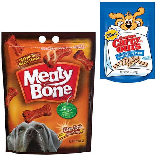 Meaty Bone Large and Canine Carry Outs Chicken Flavor Dog Snack Value Bundle