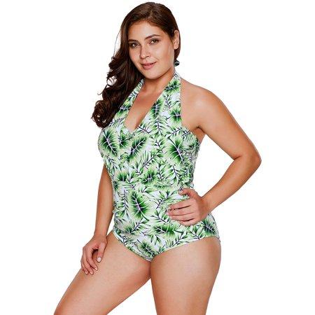 HDE Women's Plus Size Bathing Suit One Piece Leaf Halter Monokini Swimsuit L-2X (Plus Size Catwoman Suit)