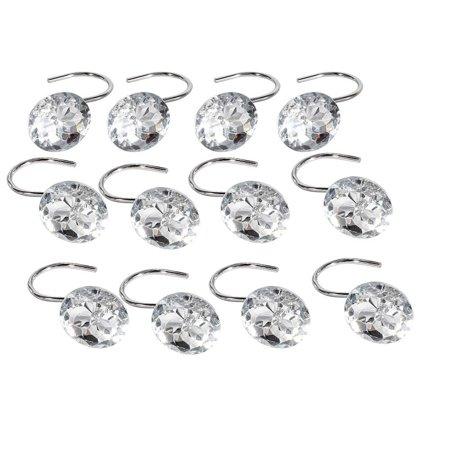12pcs Shower Curtain Hooks Rings Bathroom Decorative Rhinestone Rolling Curtain Crystal Hooks