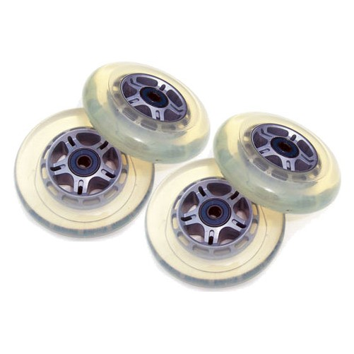4 Clear Wheels W/Abec7 Bearings for RAZOR SCOOTER 100mm