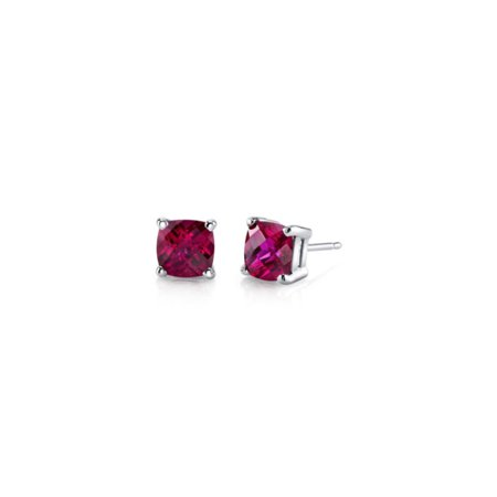 18k Brilliant Cut Stud - 18k White Gold Over Sterling Silver 3 Ct Princess Red Cz Stud Earrings