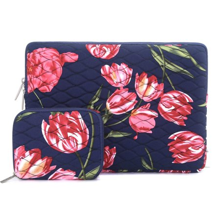 Mosiso Drop-proof Laptop Sleeve Bag for 13-13.3 Inch MacBook Pro, MacBook Air, Notebook Computer with Small Case, 360?Protective Shockproof Spill-Resistant Canvas Ripple Pattern Tablet Cover, Tulip (Small Computer Case)