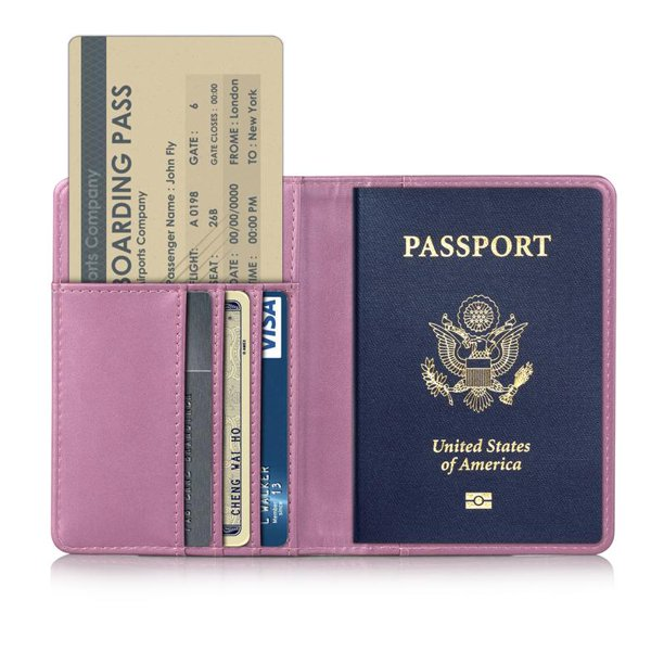 Passport Holder Travel Wallet RFID Blocking Case Cover, EpicGadget Premium PU Leather Passport Holder Travel Wallet Cover Case (Pink)