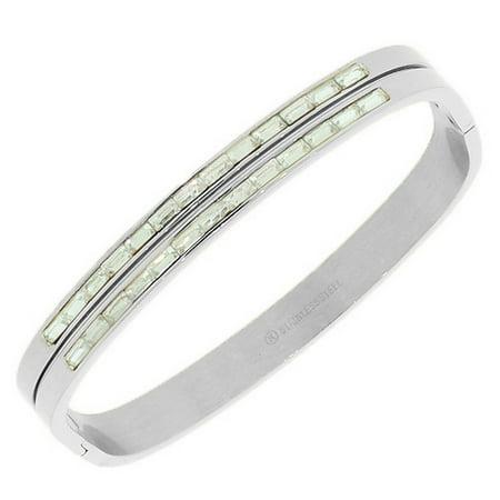 - Stainless Steel Silver-Tone White Baguette CZ Bangle Bracelet