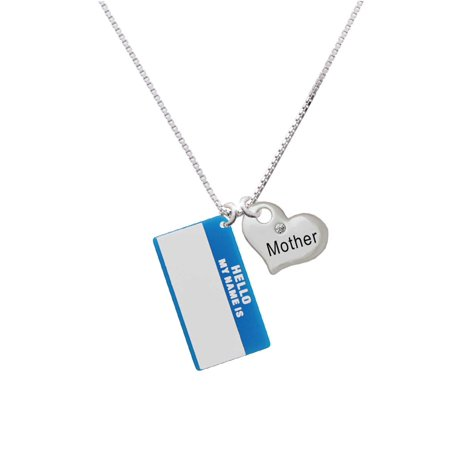 "Acrylic Blue ""Hello"" Name Tag Mother Heart Necklace"