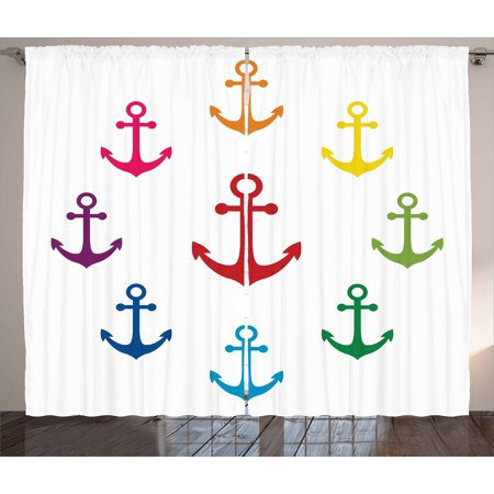 Anchor Curtains 2 Panels Set, Colorful Icons in Circular Design Nautical Maritime Theme Naval Sailboat Equipment, Window Drapes for Living Room Bedroom, 108W X 90L Inches, Multicolor, by Ambesonne