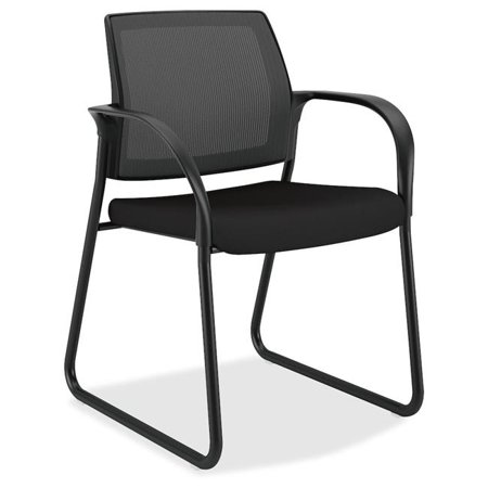 Mesh Back Sled Base Guest Chair with Arms, Black