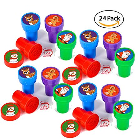 24 christmas assorted bright colored plastic stamps - self ink christmas stampers - fun gift, party favors, party toys, goody bag favors