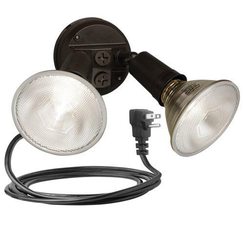 Brinks 2-Head Plug In Flood Security Light, Bronze