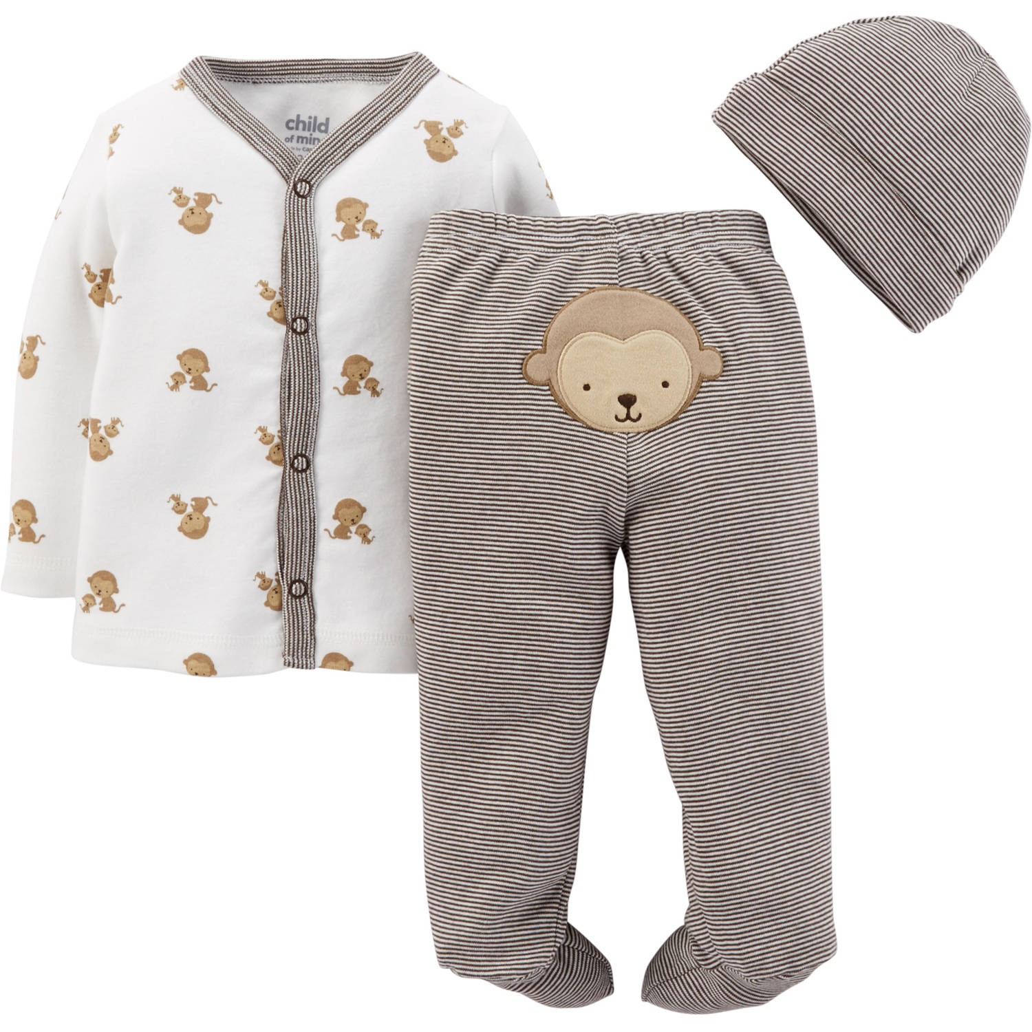 Child Of Mine By Carter's Newborn Baby Boy Footed Pant, Cardigan & Cap 3 Pc Set