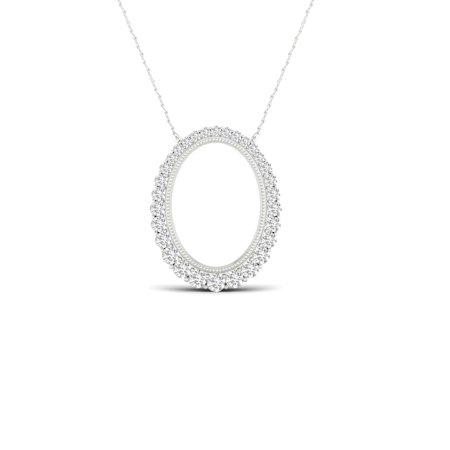 - IGI Certified 1/4Ct TDW Diamond 10K White Gold Journey Diamond Pendant Necklace (H-I, I2)