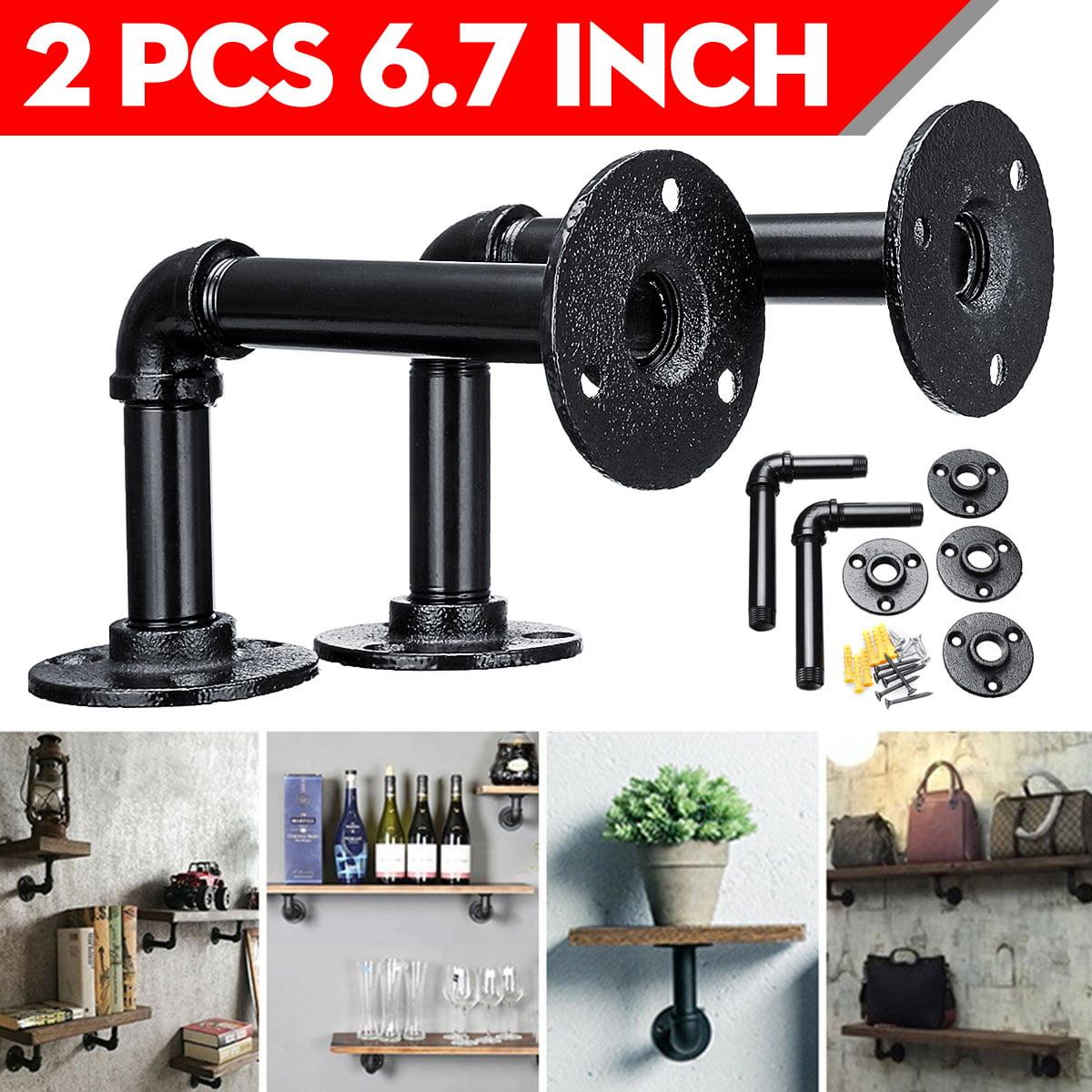 "2pcs DIY 5""x7"" Rustic Industrial Black Iron Pipe Shelf ..."