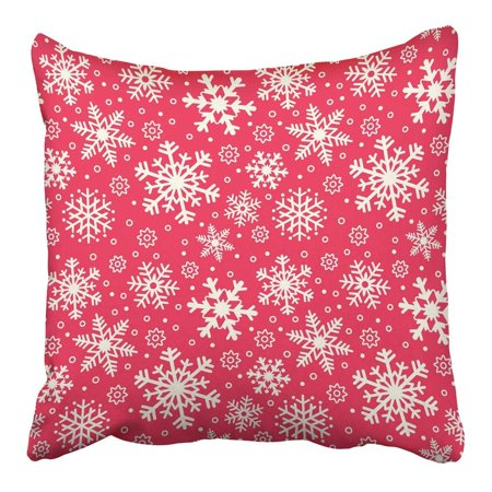 BSDHOME Red Graphic Snowflake Christmas and New Year Abstract Celebrate Celebration Pillowcase Cushion Cover 16x16 inch - image 1 of 1