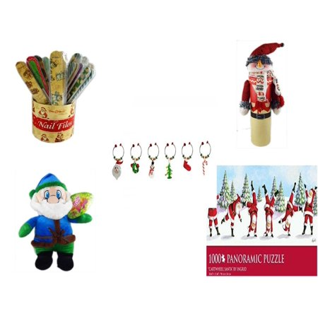 Christmas Fun Gift Bundle [5 Piece] - 20   Themed Nail Files (Assrt) - Wine Gift Box Snowman - LSArts Wine Glass Charms  Set of 6 - Soft & Cuddly Elf  14