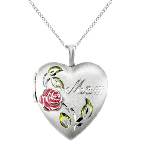 Mom  With Painted Rose Heart Locket Pendant In Sterling Silver  18
