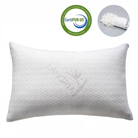 LANGRIA Luxury Bamboo Shredded Memory Foam Pillow with Zip Cover and Adjustable Viscoelastic Foam Filling Firmness Breathable Anti-Sweat Hypoallergenic Odor-Free Washable (Standard/Queen, 1 (Bamboo Zip)