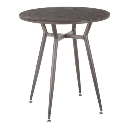 Clara Industrial Round Dinette Table in Antique Metal and Espresso Wood-Pressed Grain Bamboo by LumiSource