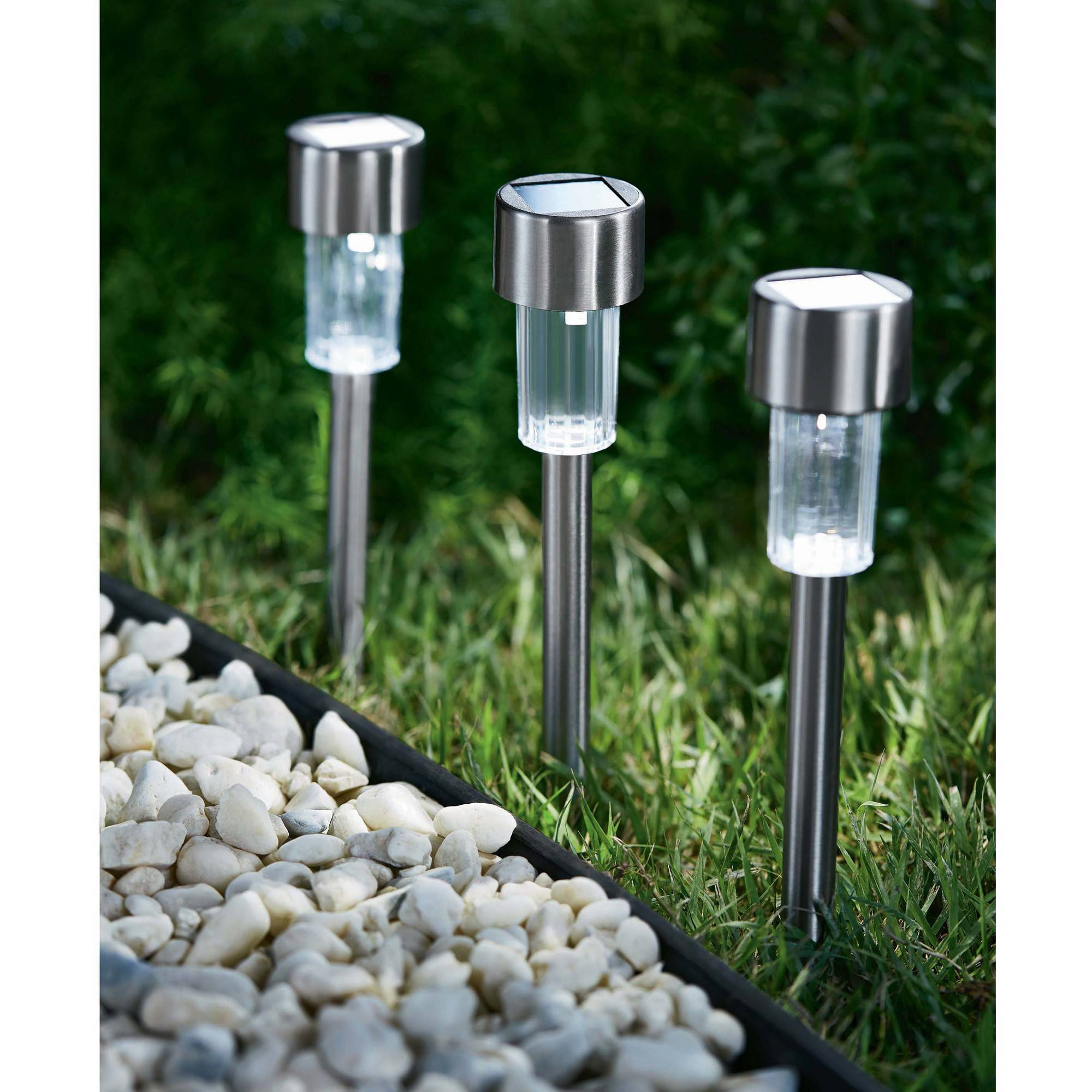Mainstays 7 Piece Solar Powered Landscape Light Set Stainless