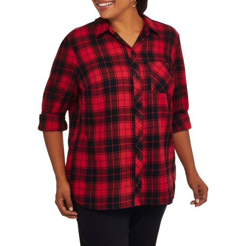 Faded Glory Women's Plus Twill Plaid Shirt