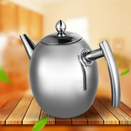 1L Stainless Steel Teapot Coffee+Tea Pot Water Kettle With Filter Large Capacity