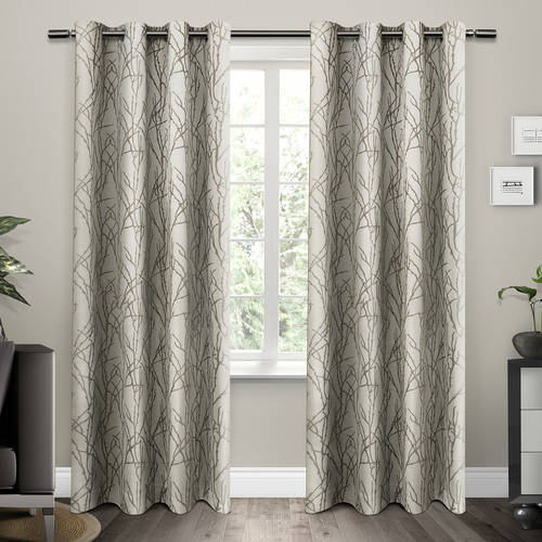 "Branches Grommet Top Window Curtain Panels, Black Pearl, Set of 2   Panel Pair 2 54"" x 84"" by Exclusive Home"