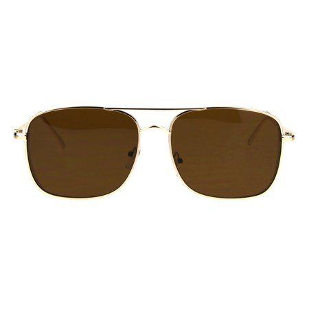 Retro Trend Mens Rectangular Side Visor Metal Aviator Sunglasses Gold (Aviator Sunglasses Trend)