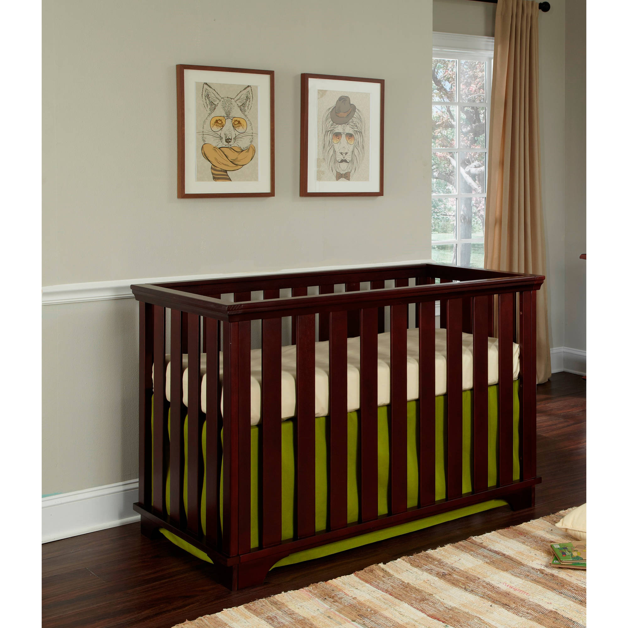 Imagio Baby Midtown Island 3-in-1 Convertible Fixed-Side Crib, Chocolate Mist