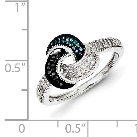 925 Sterling Silver Blue/black/white Diamond Band Ring Size 7.00 Fine Jewelry Gifts For Women For Her - image 3 de 6