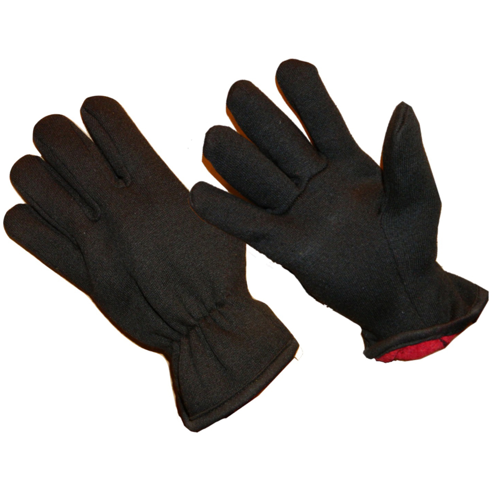 Hands On 2 Pair Value Pack Red Fleece Lined Brown Jersey Glove