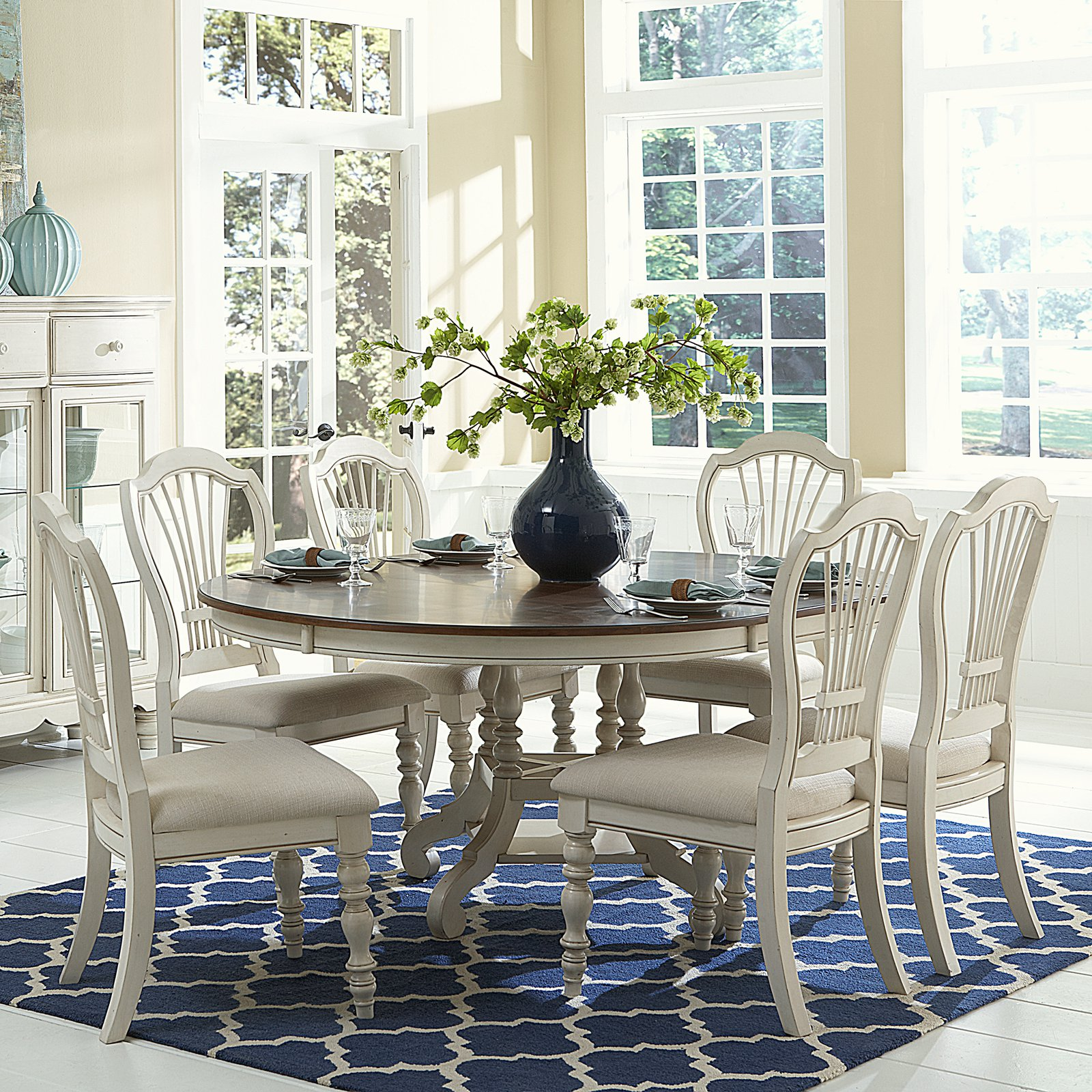 Hillsdale Furniture Pine Island 7-Piece Round Dining Set with Wheat Back Chairs
