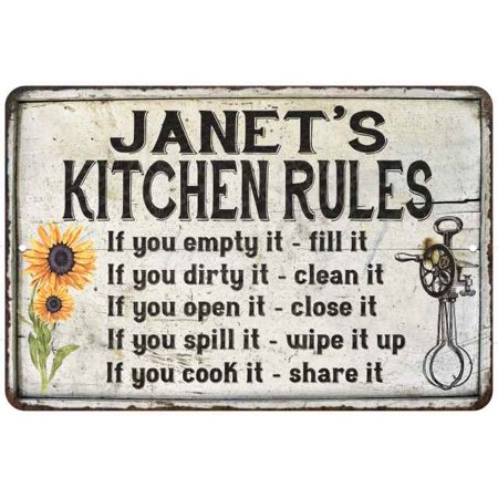 Janet S Kitchen Rules Chic Sign Vintage Decor 16 X 24 Matte Finish Metal 116240032048
