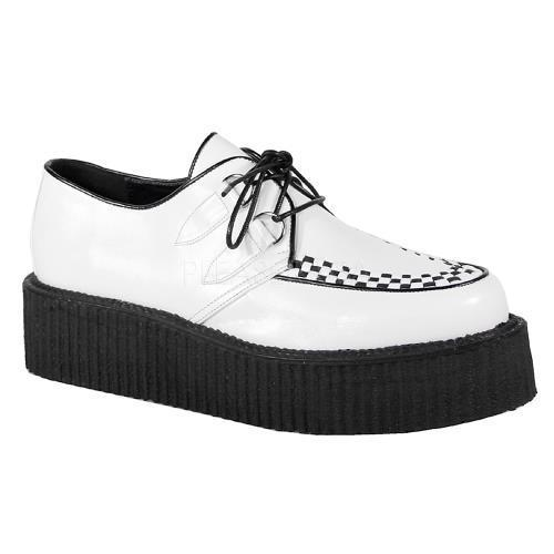 V-CRE502 WB PU Demonia Creepers Unisex Shoes WHITE BLACK Size: 8 by