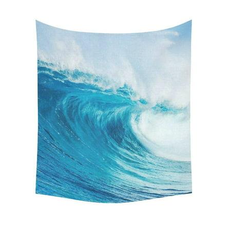 GCKG Huge Blue Ocean Wave Tapestry Wall Hanging Tropical Sunmer Seascape Wall Decor Art for Living Room Bedroom Dorm Cotton Linen Decoration 51 x 60