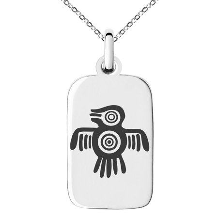 Stainless Steel Aztec Truth & Wisdom Eagle Rune Engraved Small Rectangle Dog Tag Charm Pendant Necklace