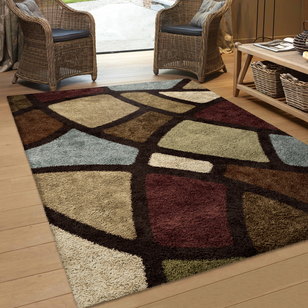 Orian Rugs Soft Shag Geometric Oval Day Multi-Colored Area Rug