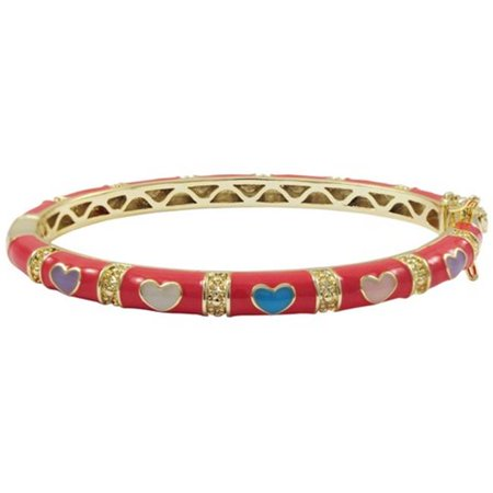Dlux Jewels Hot Pink Enamel Hearts- Gold Plated Brass Bangle, Multicolor