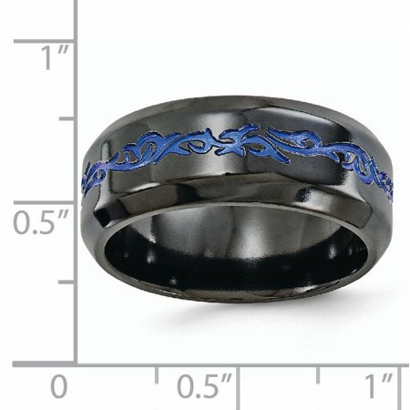 Edward Mirell Black Titanium Patterned Blue Anodized 9mm Wedding Ring Band Size 12.50 Man Fancy Designed Fashion Jewelry For Dad Mens Valentines Day Gifts For Him - image 3 of 10