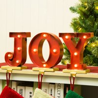 "Glitzhome 8.46""H Marquee LED Lighted ""JOY"" Stocking Holder Set"