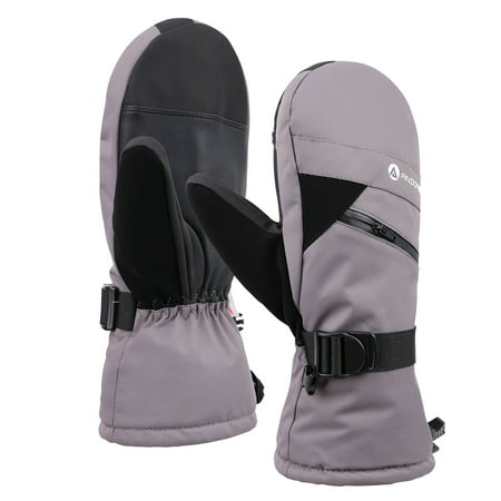 Men's Cross Country Textured Touchscreen Ski Mitten w/Zippered,Grey,S/M ()