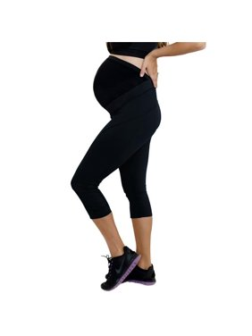 82b78b450deffe Product Image mumberry cp1bkxsw14 maternity activewear move workout capris  with belly band support, black - extra small