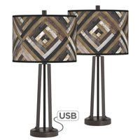 Giclee Glow Woodwork Diamonds Susan Dark Bronze USB Table Lamps Set of 2