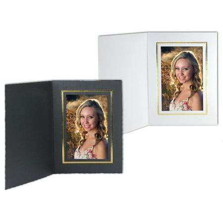 - Cardboard Photo Folders White w/Gold Foil 4x6 Vertical (25 Pack)